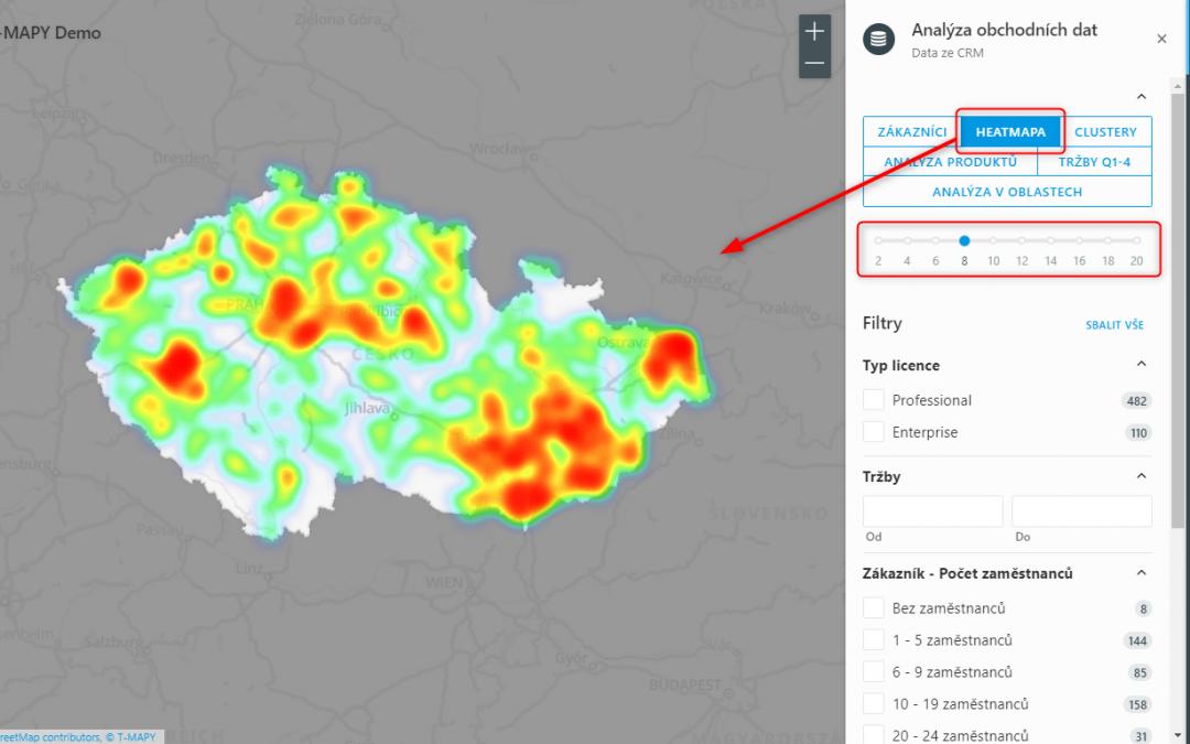 Vizualizace v heatmapě (Heatmap)