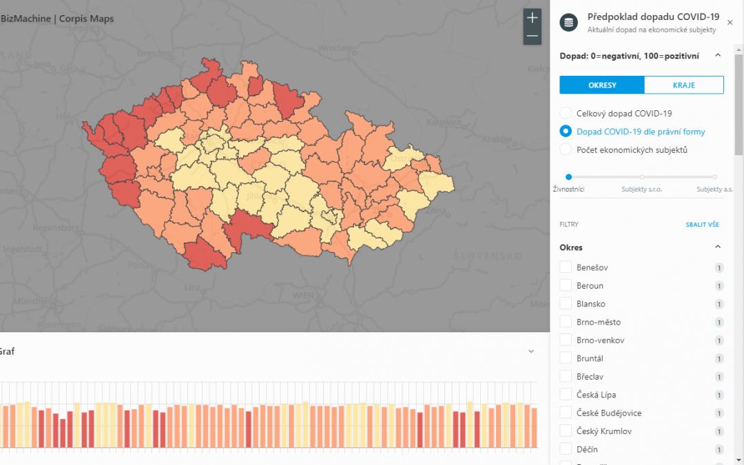 Mapa: Dopad COVID-19 na 0,7 milionu ekonomických subjektů!