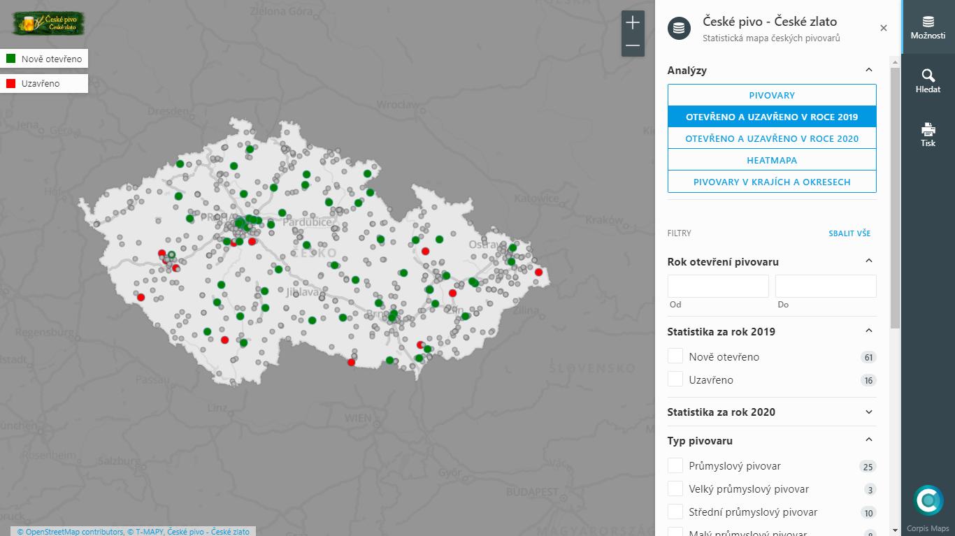 Corpis Maps - Analýza českých pivovarů