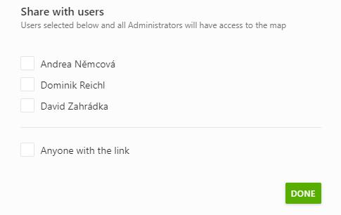 Sdílení mapy vybraným uživatelům