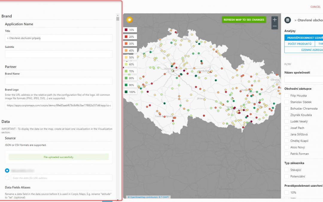Rozdíl mezi formulářem a kódem v Corpis Maps Studio