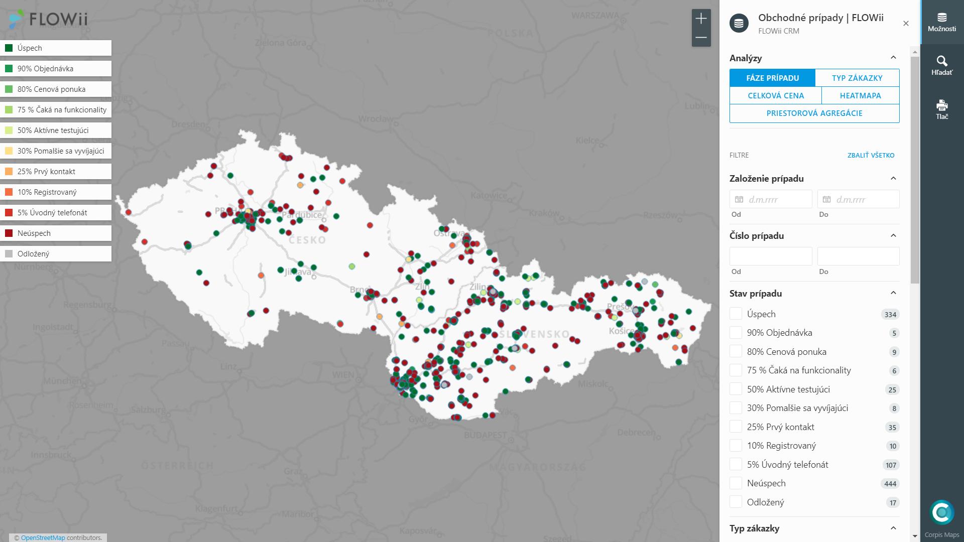 Analýza dat z FLOWii CRM v Corpis Maps