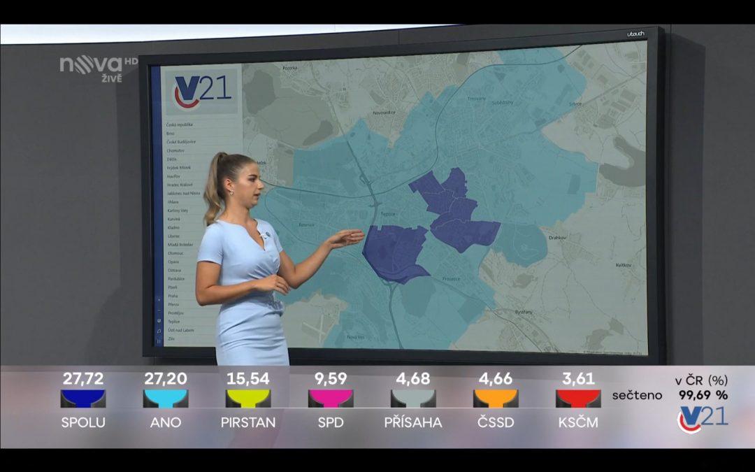 Volby 2021: Naše analytické mapy ve volebním studiu TV Nova